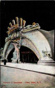 1908 Entrance to Dreamland, Coney Island, NY Postcard - vintage - rare