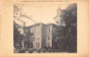 Ashland College Ohio~Founders Hall~Burned to the Ground,1951)~B&W Postcard 1940s