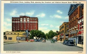 Mobile, Alabama Postcard Government Street, Looking West Curteich Linen c1940s