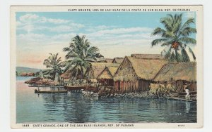 P2226 vintage postcard panama carti grande native village with river etc