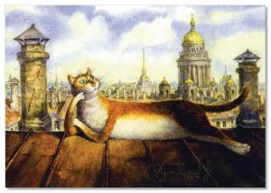 CAT on the roof in St. Petersburg Fantasy ART Russian Modern Postcard