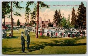 Spokane Washington~Spinning, Flying Ride @ Natatorium Amusement Park~Pool 1914