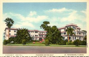 Florida St Petersburg Sunset Hotel 1946 Curteich