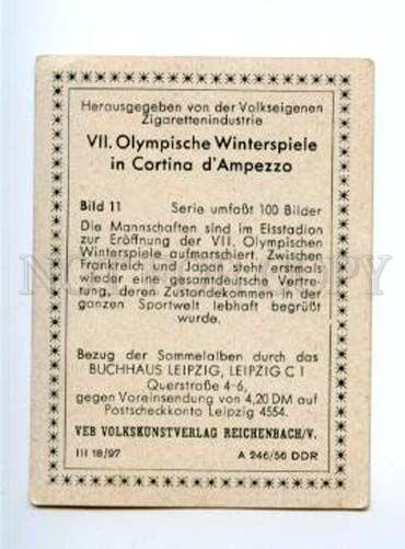 167015 Olympic Winter Games CORTINA d'Ampezzo CIGARETTE card