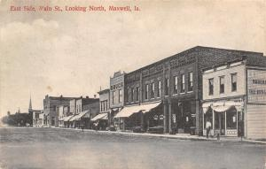 Maxwell Iowa~Dirt Main Street~Drugstore~Churches on Far End~Postcard 1909