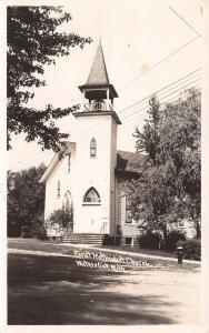 Watervliet MI~First Methodist Church~Belfry~Stained Glass Over Doors~1954 RPPC