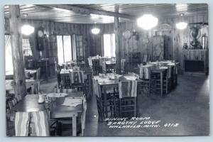 Postcard MI Walhalla Dinning Room Interior Barothy Lodge RPPC Real Photo C05