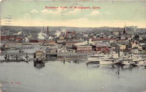 Bridgeport Connecticut Birdseye View~Bridge-Ships-Church-Motor That Motes~1912