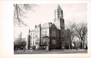 Marengo Iowa~Court House~Pointy Towers Real Photo Postcard c1950