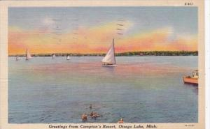 Michigan Greetings From Compton's Resort 1944 Curteich