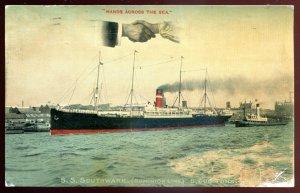 dc1115 - Steamer SS SOUTHWARK Postcard 1907 Dominion Line