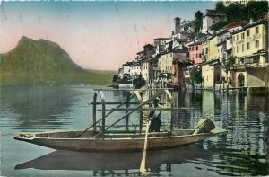 Switzerland semi-modern postcard Gandria Lago di Lugano boat