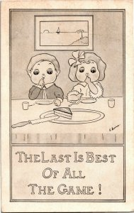 Two Kids, One Piece of Cake The Last is Best of All the Game c1911 Postcard A31