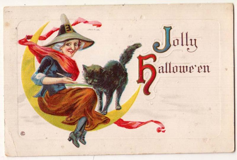 Jolly Halloween, Witch & Black Cat - by Stecher