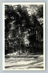 Marshall MI- Michigan, Masonic Temple, Vintage Chrome Postcard
