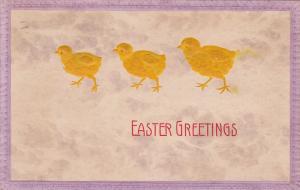 Embossed, Easter Greetings, Three Chicks, PU-1907