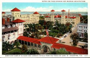 Florida St Augustine Birds Eye View Of Alcazar and Cordova Hotels from Ponce ...