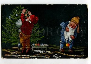 3120411 New Year GNOME w/ X-mas Tree by TM vintage Color PC