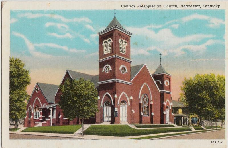 Kentucky Ky Postcard 1948 HENDERSON Central Presbyterian Church