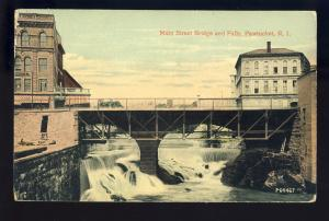 Pawtucket, Rhode Island/RI Postcard, Main Street Bridge & Falls