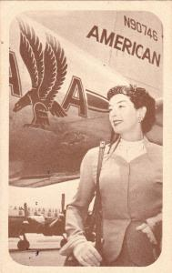 American Airlines Airplane & Stewardress [ Actress Rosaline Russell] , PU-1955