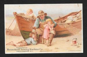 VICTORIAN TRADE CARD Household Sewing Machine Boat & Kids