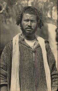 Tunisia Native Man Beard & Moustache c1915 Postcard