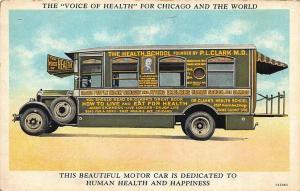 Chicago IL Dr. P. L. Clark's Health School Motor Car Health & Happiness Postcard