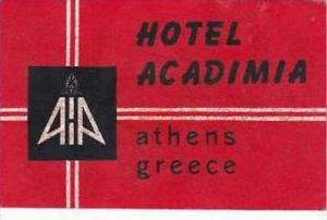 GREECE ATHENS HOTEL ACADIMIA VINTAGE LUGGAGE LABEL