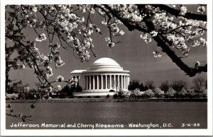 Vtg Jefferson Memorial & Cherry Blossoms Washington DC RPPC Real Photo Postcard