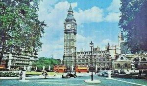 Vintage Postcard England Big Ben and Parliament Square London