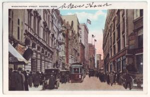 P1026 1923 people old cars trollies washington street boston mass