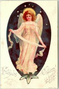 Postally-Used German EASTER Postcard ANGEL in Pink Dress Frohliche Ostern 1901
