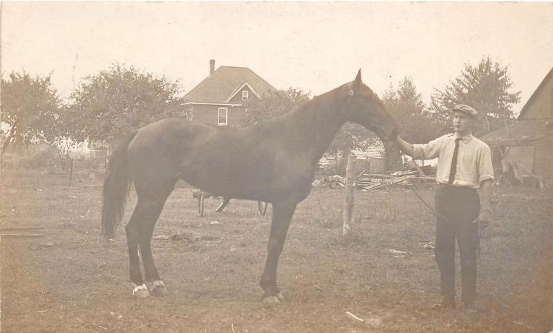 E26/ Leamington Ontario Canada 1911 Photo RPPC Postcard Horse Trainer Occupation
