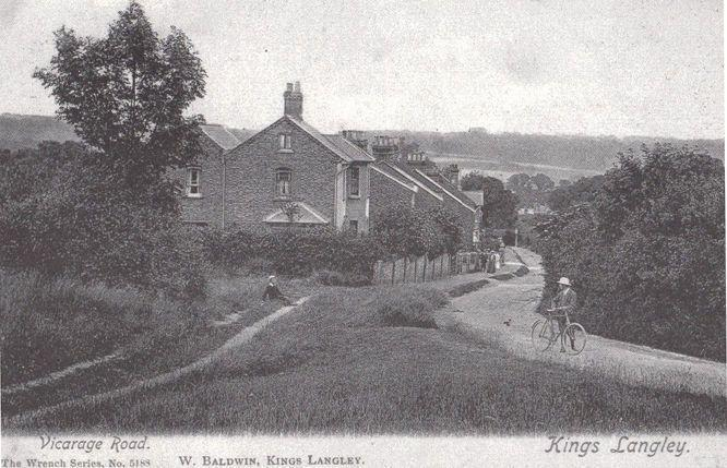 Cyclist at Vicarage Road Lane Kings Langley West Baldwin Herts Museum Postcard