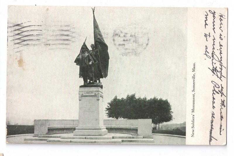 Somerville MA Soldiers Monument Civil War 1909 Flag Cancel