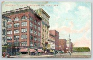 Detroit Michigan~Woodward Avenue North @ Grand River~William Elliott Co~1909