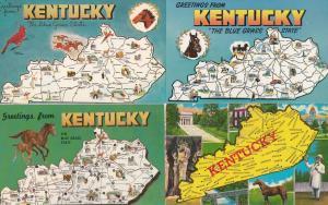 Kentucky Horse Race 4x Map Postcard s