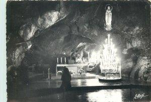 Postcard France Edlux Lourdes grotte Miraculeuse