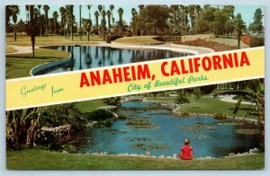 Postcard CA Banner Dual View Greetings From Anaheim Vintage O09