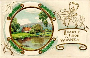Greeting -   Hearty Good Wishes      (embossed, gold)