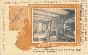 MISSION INN Old St. Francis Fireplace, Riverside, CA 1909 Vintage Postcard