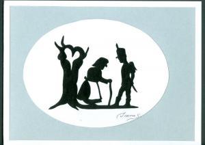 Denmark. 1 Card. Original  Paper Cut. H.C. Andersen. Motif.