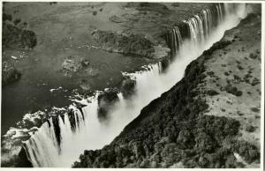 rhodesia, VICTORIA FALLS, Main Falls and Rainbow Falls from the Air (1940s) RPPC