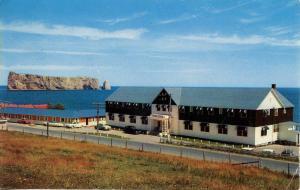 Canada - Quebec, Perce. Perce Rock and Hotel Perce