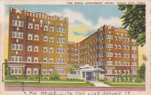 Iowa Sioux City The Sioux Apartment Hotel 1943