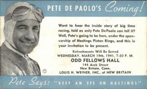 HASTINGS PISTON RINGS New Britain CT Pete De Paolo Race Car Driver PC gfz