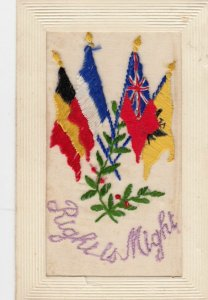 Embroidered 1914-18 ; Allies' Flags Right is Might