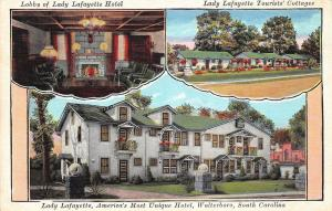 D51/ Walterboro South Carolina SC Postcard c30s Lady Lafayette Hotel 3View