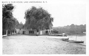 Lake Lincolndale New York~Beach & Club House~Fisherman~Willow Trees~B&W 1950s